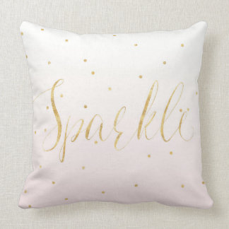 Blush Pink Gold Confetti Sparkle Ombre Throw Pillow