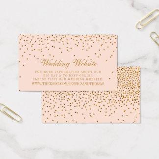 Blush Pink & Gold Confetti Wedding Business Card