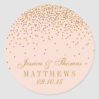 Blush Pink & Gold Confetti Wedding Favor Classic Round Sticker