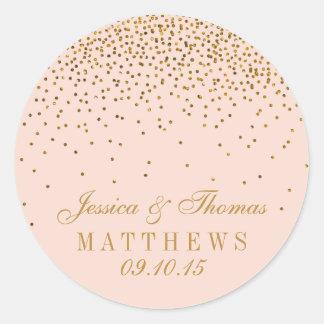 Blush Pink & Gold Confetti Wedding Favor Round Sticker