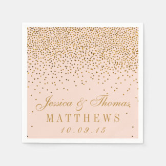 Blush Pink & Gold Confetti Wedding Paper Napkin