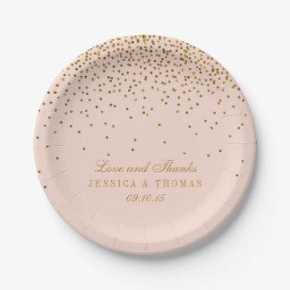 Blush Pink & Gold Confetti Wedding Paper Plate