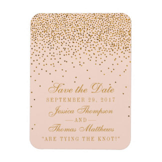 Blush Pink & Gold Confetti Wedding Save The Date Magnet