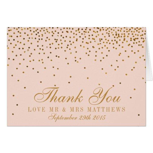 Blush Pink & Gold Confetti Wedding Thank You Card