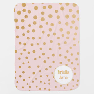 Blush pink gold dot blanket with name