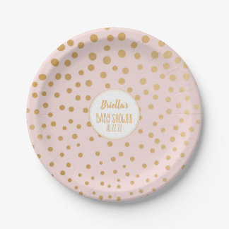 Blush pink gold dot girl baby shower theme paper plate