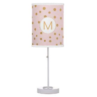 Blush pink gold dot monogram lamp
