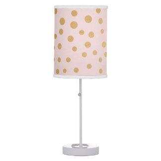 Blush pink gold dot nursery or bedroom decor table lamp