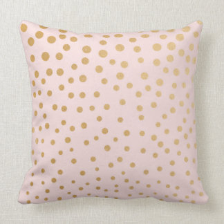 Blush pink gold dot throw pillow