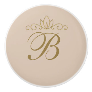 Blush Pink & Gold Elegant Chic Custom Glam Decor Ceramic Knob