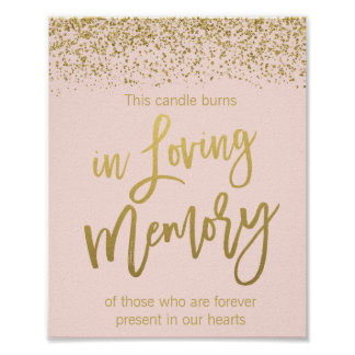 Blush Pink Gold Faux Glitter Wedding Memorial Sign