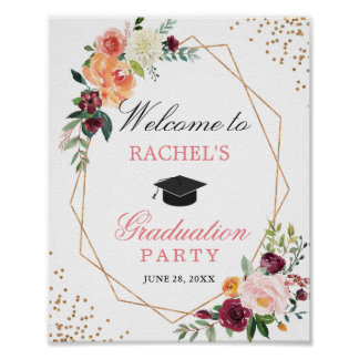Blush Pink Gold Floral Graduation Party Welcome Poster