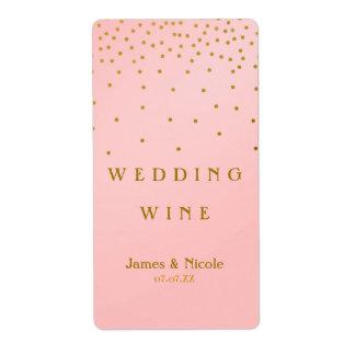 Blush Pink & Gold Foil Confetti Dots Wine Label