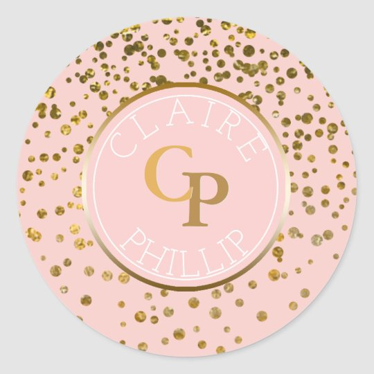 Blush Pink Gold Foil Confetti | Monogram Wedding Classic Round Sticker
