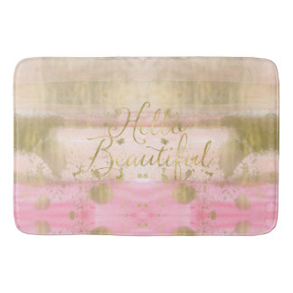 Blush Pink Gold Glam Watercolor Hello Beautiful Bath Mat