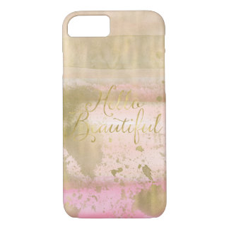 Blush Pink Gold Glam Watercolor Hello Beautiful iPhone 8/7 Case