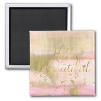 Blush Pink Gold Glam Watercolor Hello Beautiful Magnet