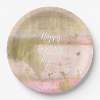 Blush Pink Gold Glam Watercolor Hello Beautiful Paper Plate