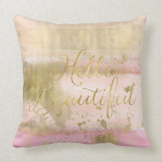 Blush Pink Gold Glam Watercolor Hello Beautiful Throw Pillow