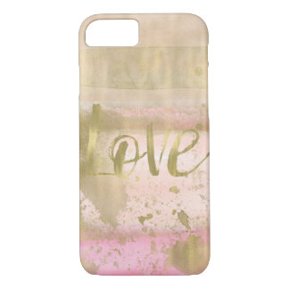 Blush Pink Gold Glam Watercolor Love iPhone 8/7 Case