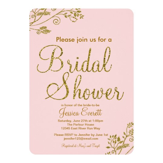 Blush Pink Gold Glitter Bridal Shower Invitation Zazzle Ca