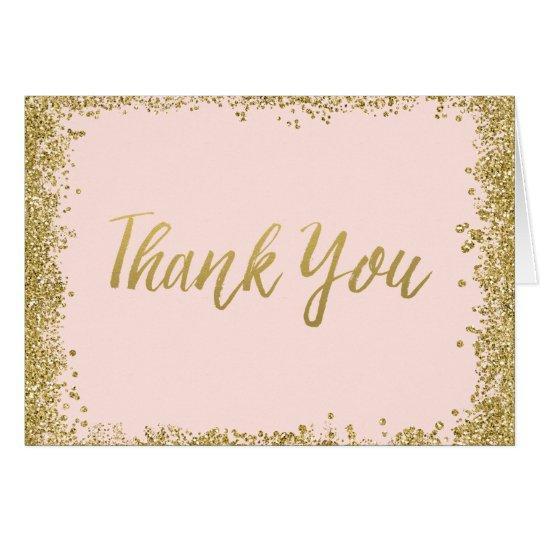blush pink gold glitter thank you card