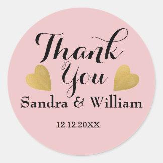 Blush Pink Gold Hearts Wedding Thank You Round Sticker