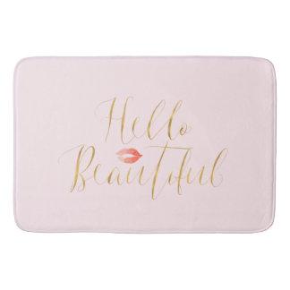 Blush Pink Gold Hello Beautiful Lips Bath Mat