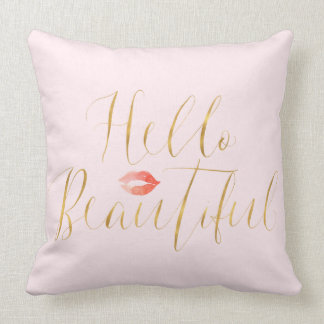Blush Pink Gold Hello Beautiful Lips Throw Pillow