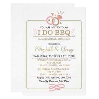 blush pink gold I DO BBQ rehearsal dinner Card