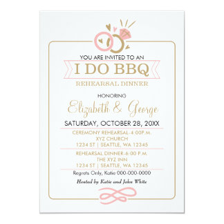 blush pink gold I DO BBQ rehearsal dinner invites
