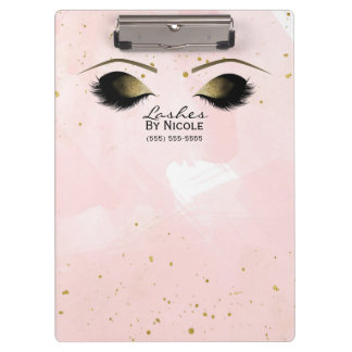 Blush Pink & Gold Makeup Eyes Lashes Personalized Clipboard
