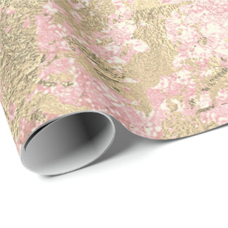 Blush Pink Gold Marble Shiny Metallic Glass Stroke Wrapping Paper
