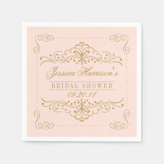 Blush Pink & Gold Ornate Swirl Bridal Shower Disposable Napkins