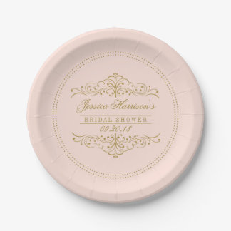 Blush Pink & Gold Ornate Swirl Bridal Shower Paper Plate