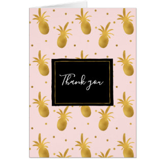 Blush Pink Gold Pineapples and Dots Thank you Card