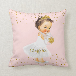 Blush Pink Gold Princess Nursery | Baby Girl Name Throw Pillow
