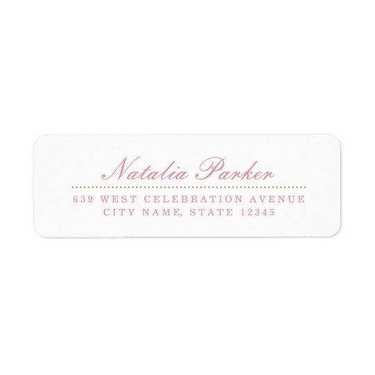 Blush Pink & Gold Return Address Label