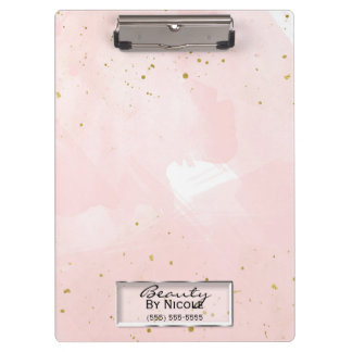 Blush Pink & Gold Splatter Modern Personalized Clipboard