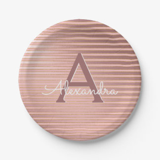 Blush Pink & Gold Stripes Monogram Birthday Paper Plate