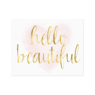 Blush Pink Gold Watercolor Heart Hello Beautiful Canvas Print