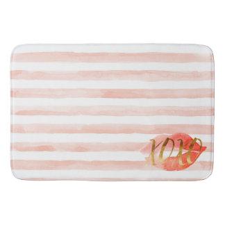 Blush Pink Gold XOXO Watercolor Kiss Bath Mat