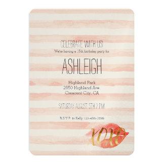 Blush Pink Gold XOXO Watercolor Kiss Card