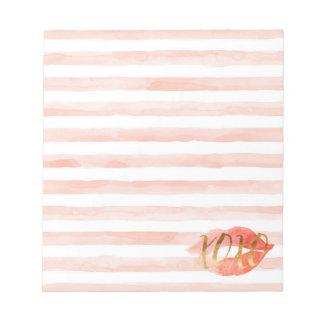 Blush Pink Gold XOXO Watercolor Kiss Notepad