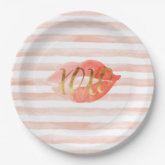 Blush Pink Gold XOXO Watercolor Kiss Paper Plate