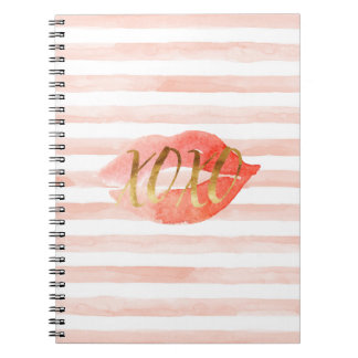 Blush Pink Gold XOXO Watercolor Kiss Spiral Notebook