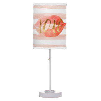 Blush-Pink Gold XOXO Watercolor Kiss Table Lamp