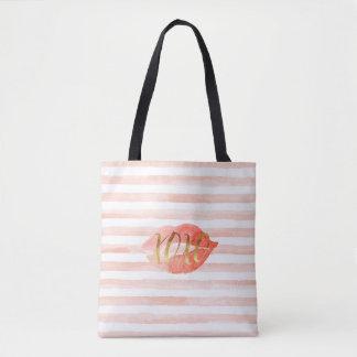 Blush Pink Gold XOXO Watercolor Kiss Tote Bag