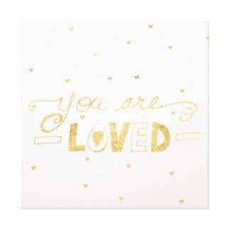 Blush Pink Gold You are Loved Hearts Ombre Canvas Print
