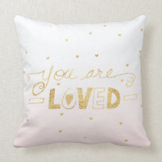 Blush Pink Gold You are Loved Hearts Ombre Throw Pillow